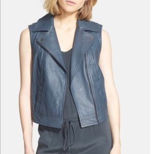 Vince Women's Embossed Skin Leather Moto Vest